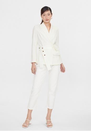 Pomelo white Belted Bag Blazer - White 84BA3AA3FF55F7GS_1
