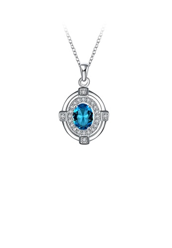 Glamorousky blue Fashion and Elegant Geometric Oval Pendant with Light Blue Cubic Zircon and Necklace DCF4DAC37FDF84GS_1