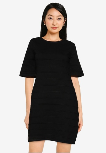 ZALORA BASICS black Flare Sleeve Knit Dress FCA13AAEA601B6GS_1