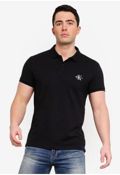 5896dd80cff3 Calvin Klein black Monogram Pima Spandex Slim Polo Shirt - Calvin Klein  Jeans 8BD0DAAA8A498BGS 1