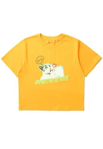 tout à coup yellow Puppy graphic print tee 8B6AFAAFC8ABAFGS_1