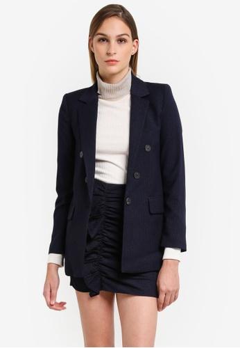 Mango blue and navy Pinstripe Oversize Blazer MA193AA0RTE1MY_1