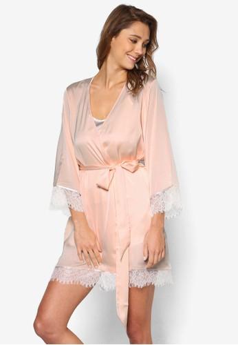 Natice 簡約蕾絲邊飾睡袍, 服esprit香港門市飾, 睡袍