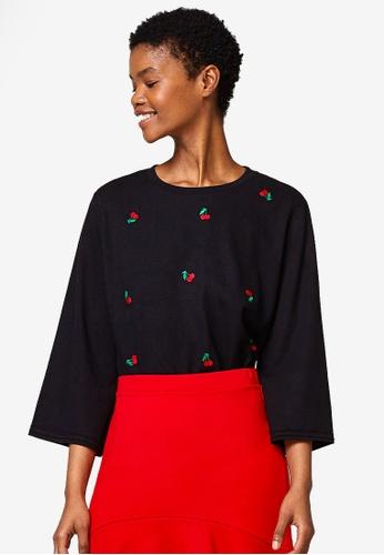 ESPRIT black 3/4 Sleeve T-Shirt C4D32AA8B9D043GS_1