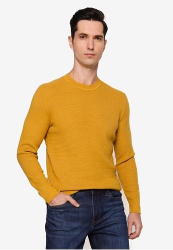 Banana Republic 黃色 Merino Texture Waffle Crew Sweater 2CBE1AA98A4CD3GS_1