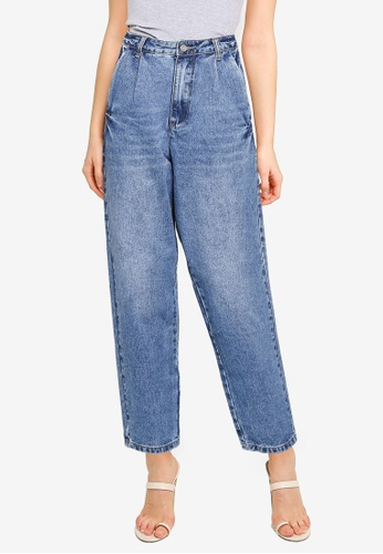 MISSGUIDED blue Oversized High Waisted Jeans EE87DAAB74ED20GS_1