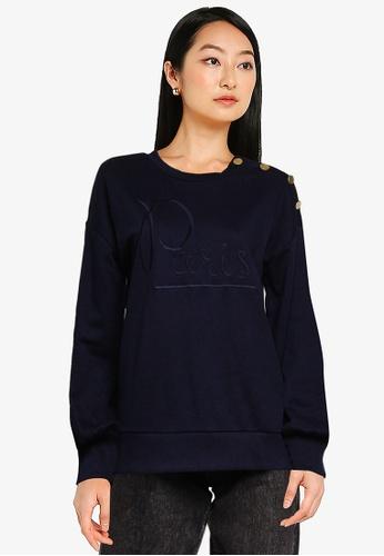 JACQUELINE DE YONG navy Louisiana Long Sleeves Button Embroidery Sweatshirt EFAADAA1EFFC0FGS_1