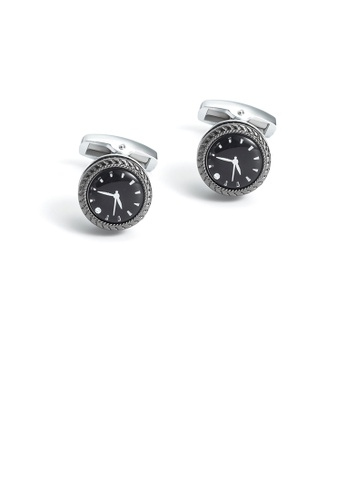 Glamorousky silver Fashion Vintage Clock Shape Geometric Round Cufflinks DA067AC47D032DGS_1