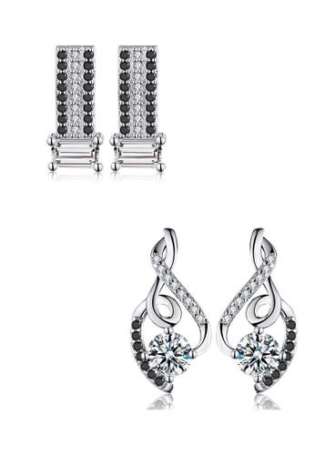 A-Excellence black Premium Elegant Black Silver Earring Set 28609ACB2C60B6GS_1
