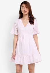 ZALORA pink Printed Fit & Flare Dress A8677AA01AA373GS_1