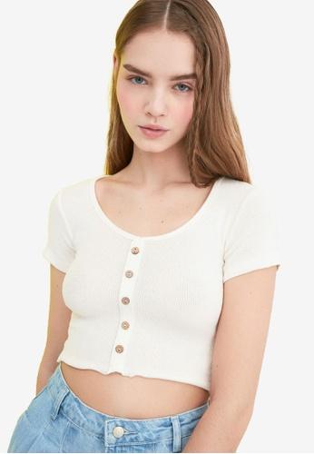 Trendyol white Basic Button Down Crop Top CFF3BAA2D1A460GS_1