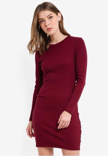 Supre red Longsleeve Rib Bodycon Dress 4956EAA20F1577GS_1