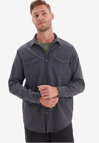 Trendyol grey Metal Button Double Pocket Shirt A9022AA5FE9DF6GS_1