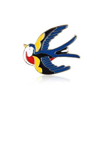Glamorousky silver Fashion Simple Plated Gold Enamel Blue Swallow Brooch E64FDAC932C3B0GS_1