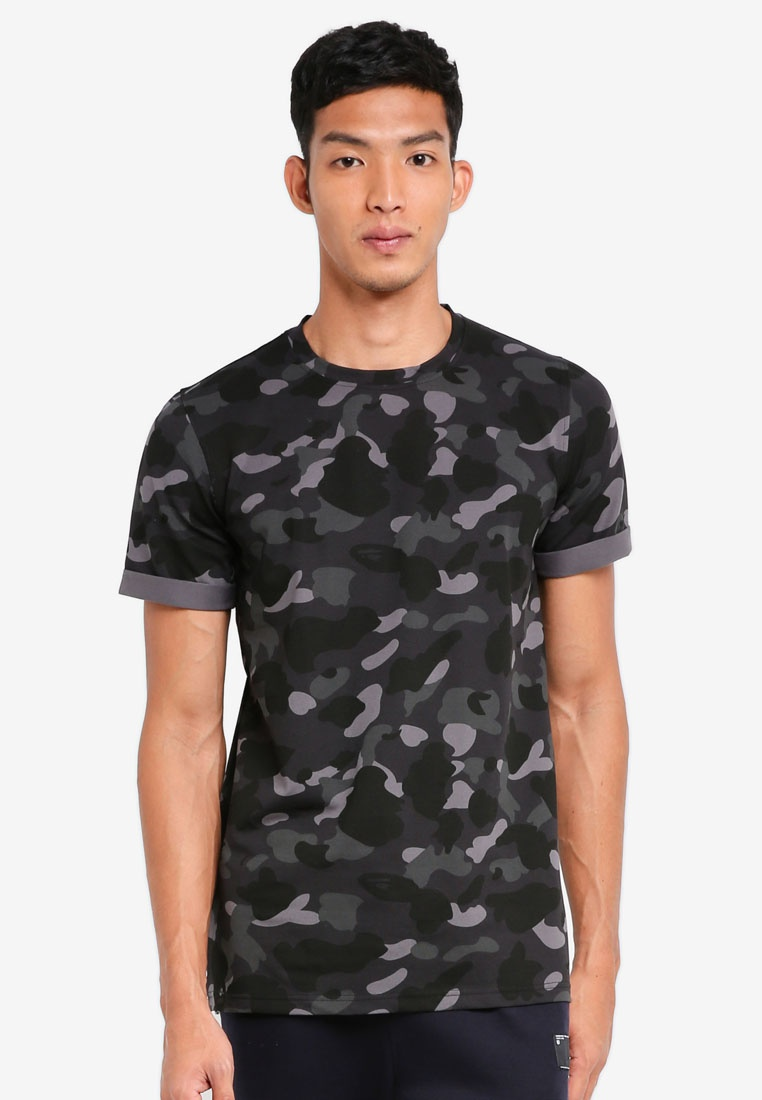 Camo Zip UniqTee Black Printed Shirt With T Longline aA4xrqa