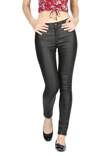 London Rag black Black Wet Look Shiny Stretchy Tight Pant BB191AA4B3E073GS_1