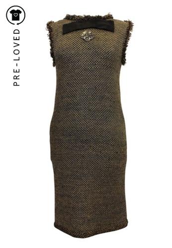 Lanvin brown Pre-Loved lanvin Tweed Metallic Knit Dress with Brooch Embellishment 0582AAAAFE846DGS_1
