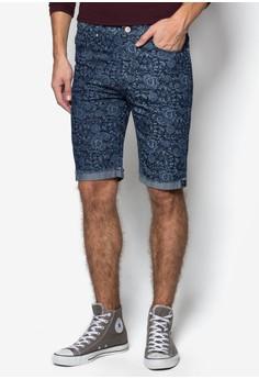 Slim Fit Printed Denim Shorts