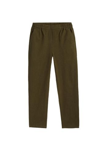 Giordano brown Women's Linen Cotton Elastic Waistband Pants 12E3FAA187A742GS_1