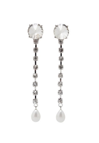 Jaysa Collection silver Clear Crystals Chain Dangle Earrings with White Pearls JA875AC0GPWSSG_1