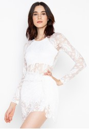 Chase Fashion white Open Back Long Sleeves Lace with Cover up E7871US728FB65GS_1