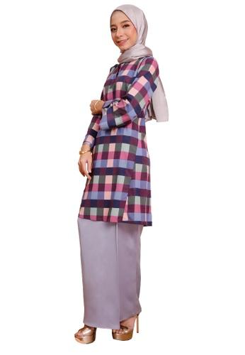 SARIMA grey and pink and blue Kurung Riau Checkered Purple Pink Grey D8EC9AA24B1A6FGS_1