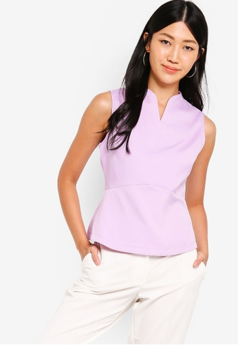 ZALORA purple Notch Neck Peplum Top 6A0CAAAACA655CGS_1