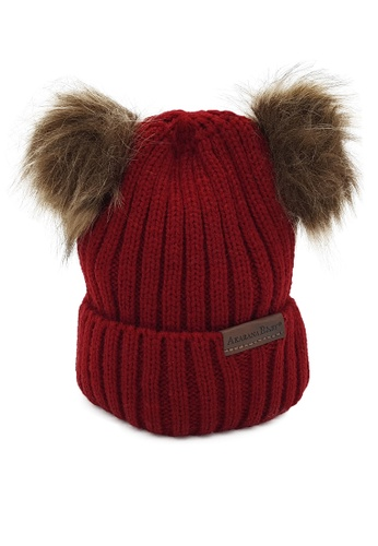 Akarana Baby red and brown Baby Beanie Double Faux Fur Pom-Pom (Red) 59D27KCEE1D880GS_1