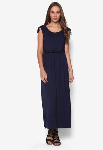 Petite 繫帶腰zalora 順豐飾褶藝長洋裝, 服飾, 洋裝