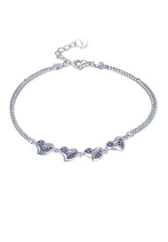 MBLife silver 925 Sterling Silver Purple Heart Double-Chained Bracelet E1BD3AC3D53893GS_1
