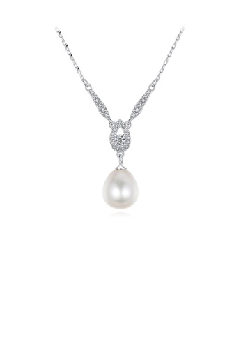 Glamorousky white 925 Sterling Silver Fashion and Elegant Water Drop-shaped White Freshwater Pearl Pendant with Cubic Zirconia and Necklace A6B77AC6525AD4GS_1