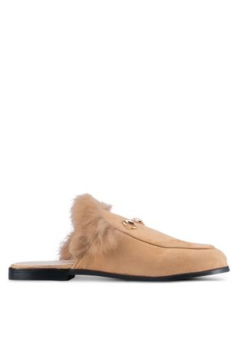 addicts anonymous beige Brooklyn Fur Classic Mule Flats AD479SH0SR64MY_1