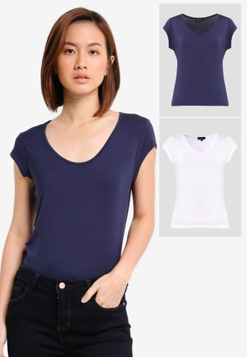 ZALORA BASICS white and navy 2 pack Essential Scoop Neck Tee ZA911AA10OE5ID_1