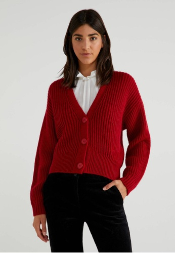United Colors of Benetton red V-neck Cardigan 400BFAA85B2AE7GS_1