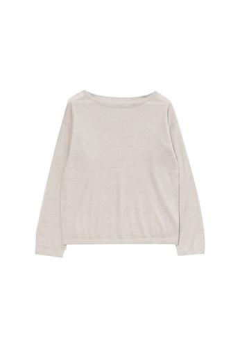 KLAPS beige Boat Neck Cashmere Sweater BF50BAAA0772E1GS_1