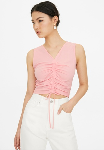 Pomelo pink Sleeveless Knit Drawstring Crop Top - Pink A4506AA487F5E6GS_1