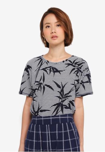 WAREHOUSE blue Stripe Bamboo Print Tee 57D4DAA2A33A98GS_1