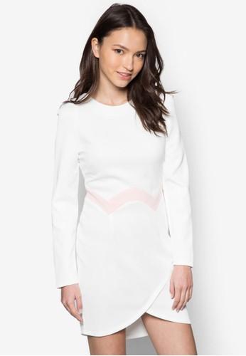 拼色裹飾長esprit專櫃袖連身裙, 服飾, 洋裝