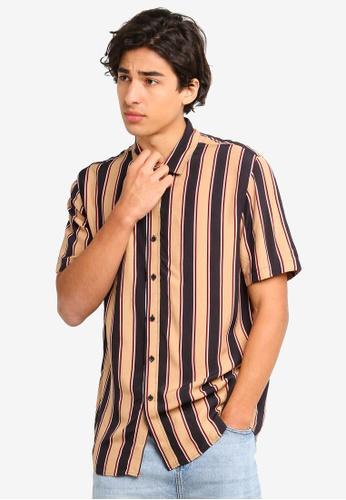 Topman beige Stone Stripe Shirt 72FECAA5FC416EGS_1