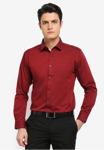 Kent & Crew 紅色 時尚修身長袖襯衫 6F331AAB57BFEDGS_1