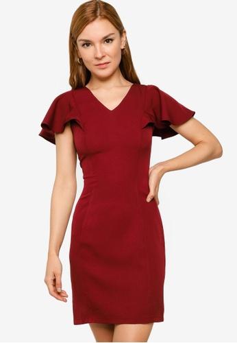 ZALORA WORK 紅色 Angel Sleeve V Neck Sheath Dress FD44BAA61B25E5GS_1