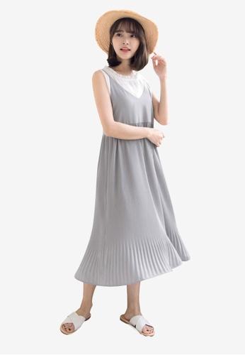 Tokichoi grey Pleated Slip Dress A1151AAE3C4A93GS_1