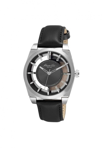 Kenneth Cole black Kenneth Cole Men's Watch - Transparent Dial Silver/Black Strap KE854AC03NPSSG_1