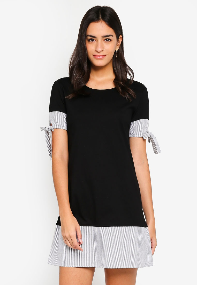 Black ZALORA Sleeve Dress Stripe Bow x4UY1RX