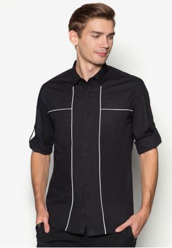 撞色滾邊京站 esprit長袖襯衫, 服飾, 素色襯衫