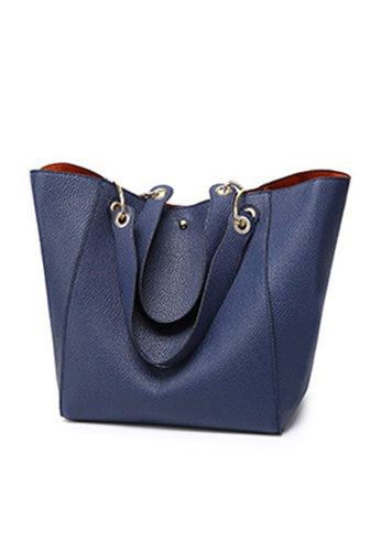 Halo navy OL Two Way Big Tote Bag With Pouch 2E888AC7568CB4GS_1