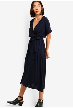 29646633560b Something Borrowed navy Cuffed Sleeves Waist Tie Midi Dress  C9F24AAD806D93GS 1