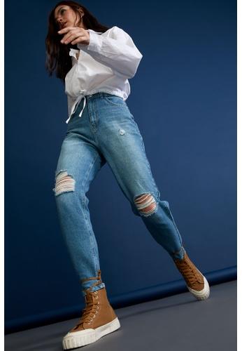 DeFacto blue High Waist Ripped Mom Jeans 34B69AA84A4342GS_1