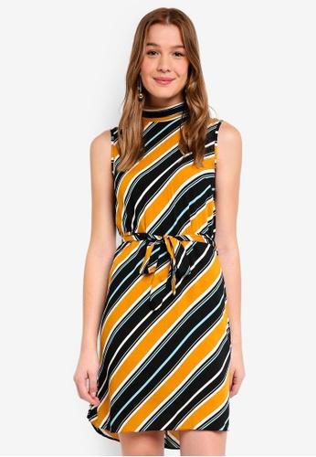 Dorothy Perkins orange Ochre Stripe Tie Shift Dress 24ED4AAD2D1C45GS_1