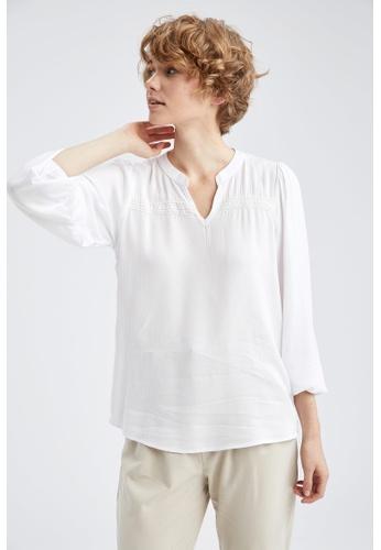 DeFacto white Long Sleeve Viscose Blouse 33C99AA215E70FGS_1
